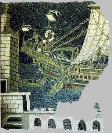 Корма римского корабля на мозаике III в. н. э.